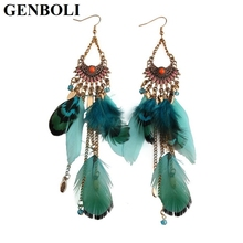 GENBOLI Long Tassel Feather Ethnic Boho Big Dangle Statement Earring Wedding Drop Earrings Fashion Jewelry Accessories