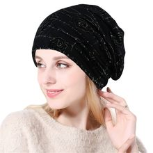 Beanie Women Rose India Lace Stretch Turban Hat Knitting Hair Head Scarf Wrap Winter Hats For Women Men Gorros Mujer Invierno(China)