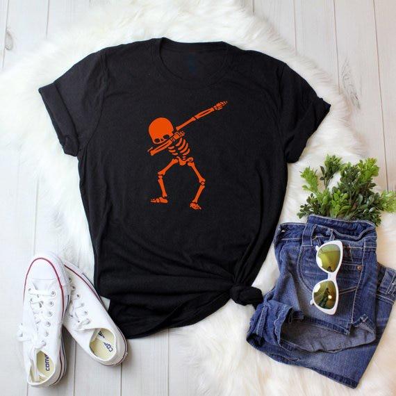 469b0ee75 Unisex Casual Halloween T-Shirt Skull Halloween Pumpkin Tumblr Tee girl  Black Slogan Grunge Popular Top Orange Graphic Drop Ship
