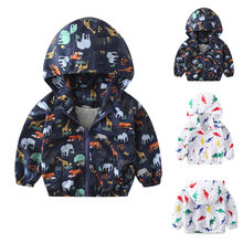 Fashion Unisex Children Baby Coat Autumn Jacket Outerwear Dinosaur Hoodie Windbreaker Cotton Clothes(China)