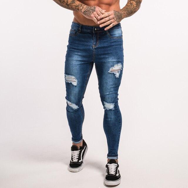 ba019abdd Gingtto hombres Jeans Slim Fit Skinny Denim Jeans estiramiento elástico  cintura Hip Hop clásico azul calidad