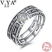 V YA Fashion Women Double Ring Sets 925 Sterling Silver Wedding Engagement Jewelry With Cubic Zirconia
