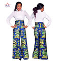 BRW Dashiki African Print High Waist Loose Straight Pants African Clothing for Women Bazin Riche Office Wide Leg Pants WY1042