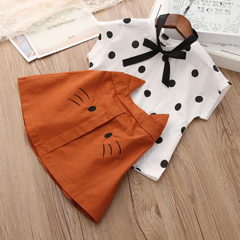 Infant Kids Baby Sets For Girls Cartoon Dot Print T-shirt+Cat Skirt Summer 3Piece Child Suit Clothing Clothes toddler Outfits 4