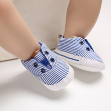 Striped Infant Toddler Shoes Girls Boys Casual Cotton Shoes Soft Bottom Comfortable Non-slip Kid Baby First Walkers Shoes недорого
