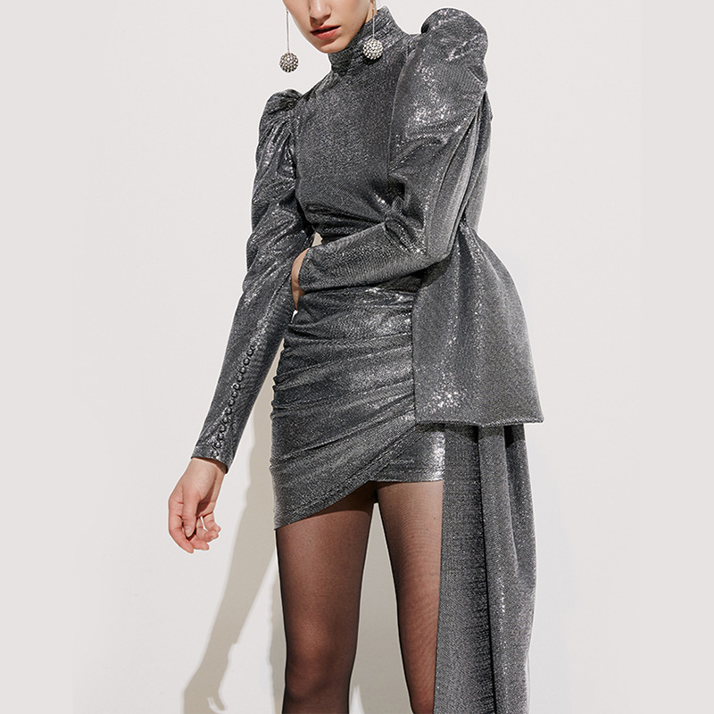 Nouvelle Mode Vente Chaude Sequin O Cou À Manches Longues Femmes Robe Échantillon Casual Party Outfit Vêtements Celebrity Robe En Gros