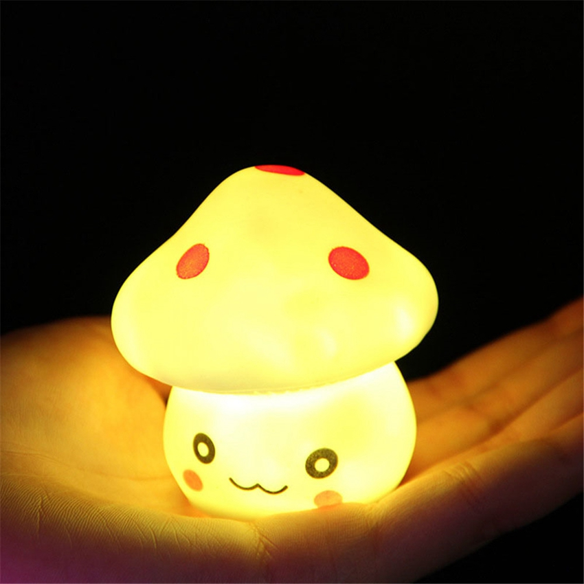 Colorful LED Mushroom Night Light Child Bedroom Desk Bedside Table Lamp For Baby Kids Christmas Holiday Romantic Gifts Cute Lamp