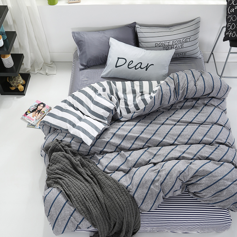 100Cotton geometric brife style wholesale bedding set queen twin double single size bed set grey white bedsheet firsheet set 42
