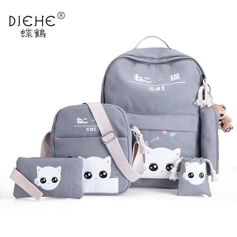 ca4c2b46c2 Girls Canvas Backpack 5 Pcs set Woman School Backpacks Schoolbag For  Teenagers Student Book Bag
