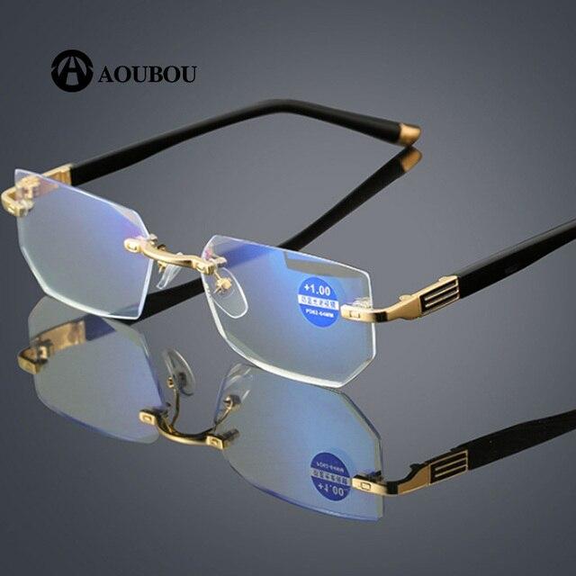 抗疲労抗青色光ダイヤモンドトリミングクリスタルクリア超軽量リムレス携帯電話の老眼鏡 2019 新