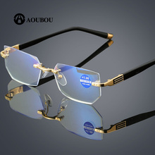 Anti fatigue Anti blue light Diamond trimming Crystal clear Ultralight Rimless Mobile phone reading glasses 2019 new