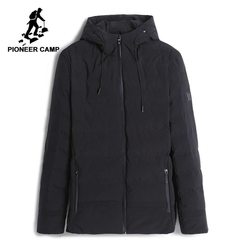 パイオニアキャンプ新厚い冬のジャケットの男性フード付き暖かいコート男性トップ品質ウインドブレーカーブラックソリッドパーカージャケット AMF705280  グループ上の メンズ服 からの パーカー の中 1