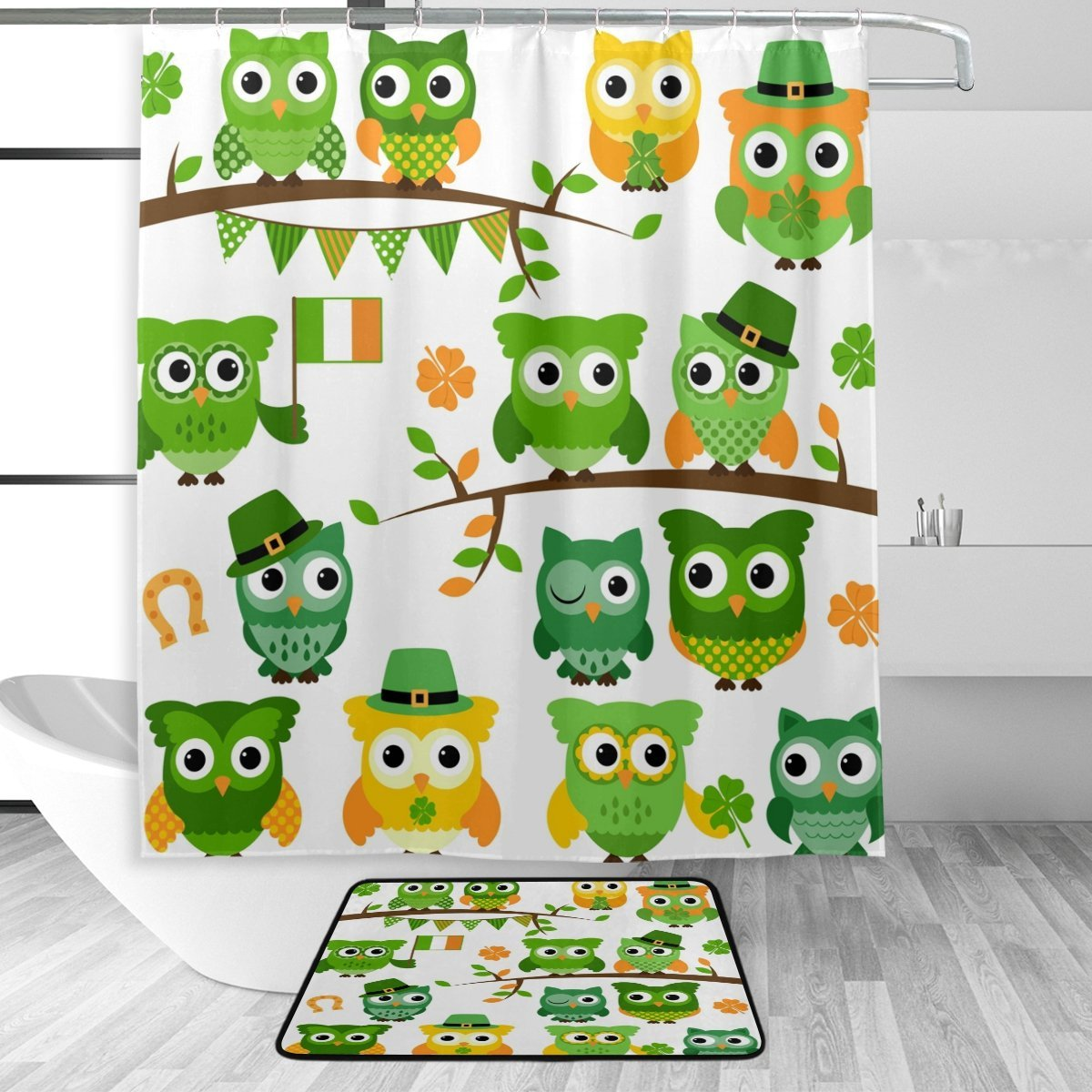Us 16 55 31 Off St Patrick S Day Irish Owl With Shamrock Waterproof Polyester Shower Curtain With Hooks Doormat Bath Bathroom Home Decor In Shower