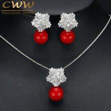 Nueva Joyería de Moda Cúbicos Circón Flor Con Gran Perla Roja colgante de Collar Y Pendientes Establecidas Para Las Señoras Mejor Regalo Amigo T209