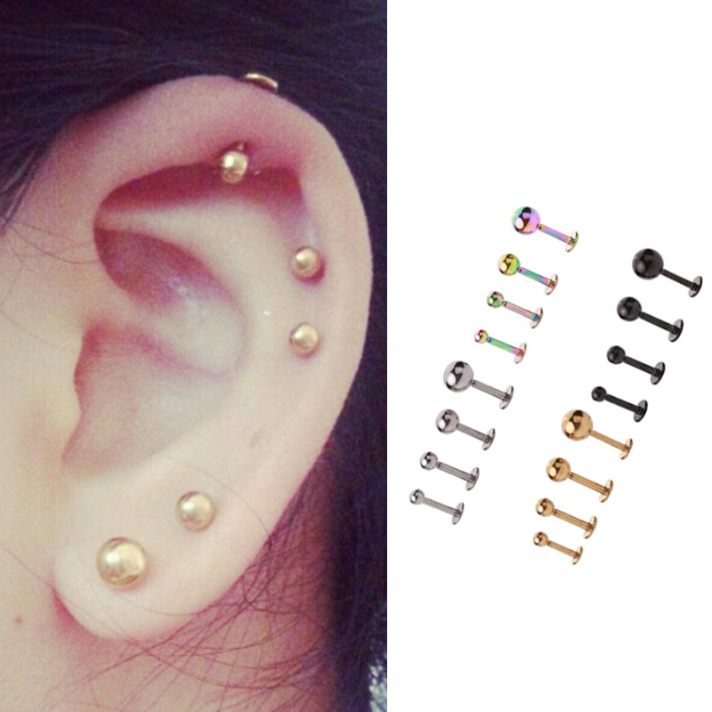 1PC Medical 316L Prevent Allergy Titanium Steel Stud Earring For Men And Women Party Punk Vintage Jewelry Gift 2.5mm 3mm 4mm 5mm