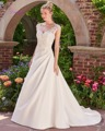 Dreagel Elegant Princess White Satin Wedding Dresses Asymmetrical Pleated Appliques Beaded A-line Vestido de Noiva Sexy Backless