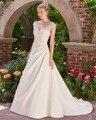 Dreagel Princesa Elegante Blanco Satinado Vestidos de Novia Asimétrico Plisado Apliques Con Cuentas Una Línea de Vestido de Noiva Backless Atractivo