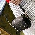 2016 Mujeres de La Manera Bolsas Pequeña Cadena de Hombro Del Diseñador Del Bolso de hombro Cruzada Cuerpo Bolsa de remache de Color Femenino del Verano Femininas