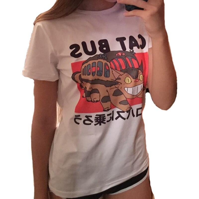 Caipira Passeio O Ônibus Gato Vizinho Totoro Studio Ghibli Anime Japonês Unisex T-Shirt Branco Casual T shirts verão 2017 Tops