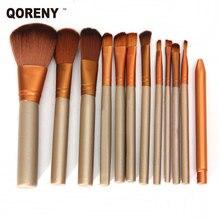 QORENY 12 unids profesional maquillaje pinceles set kit de belleza conjunto de calidad SUPERIOR para el colorete, polvo de cara crema base