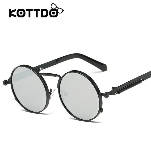 70b6343303e00 Steampunk Men Women Sunglasses Round Metal Retro Vintage Sunglasses Brand  Designer Men s Glasses UV400 Oculos De Sol Feminino
