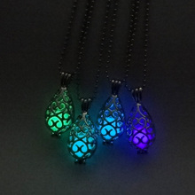 Hollow Luminous Stone Pendant Necklaces Silver Long Chain Necklace Glowing in the Dark Women Jewelry
