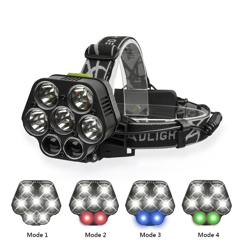 LED Projecteur USB Rechargeable phare CREE XML-T6 Lanterne 20000 lumens lampe de Poche LED Blanc rouge vert bleu Tête Lampe 2*18650
