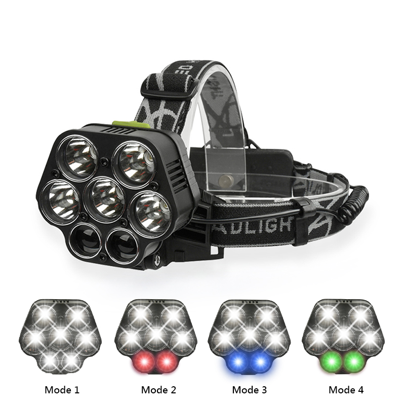 USB Rechargeable CREE XML-5*T6 7 LED Headlamp Head Lamp 20000 lumens LED Flashlight White red green blue Head Light By 2*18650