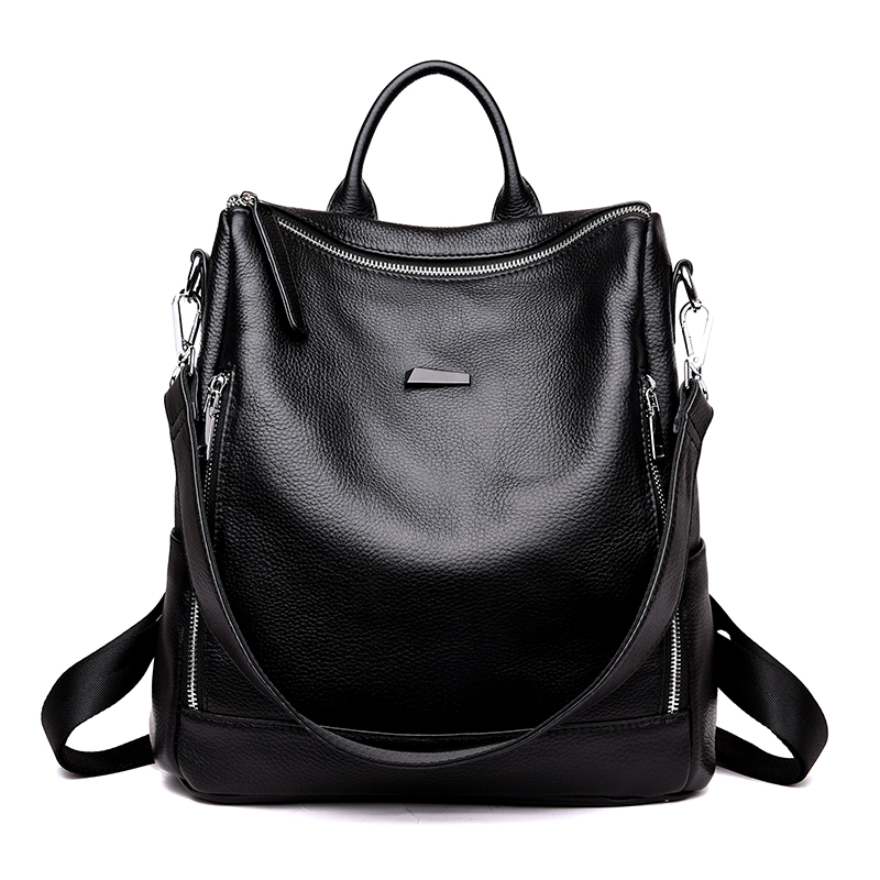 Women fashion backpack female genuine leather for school girls black travel backpacks bags for women 2018