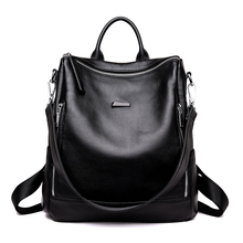 Women fashion backpack female genuine leather for school girls black travel backpacks bags for women 2018 mochila feminina все цены