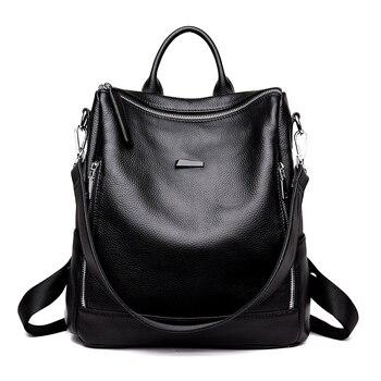 Women fashion backpack female genuine leather for school girls black travel backpacks bags for women 2018 mochila feminina
