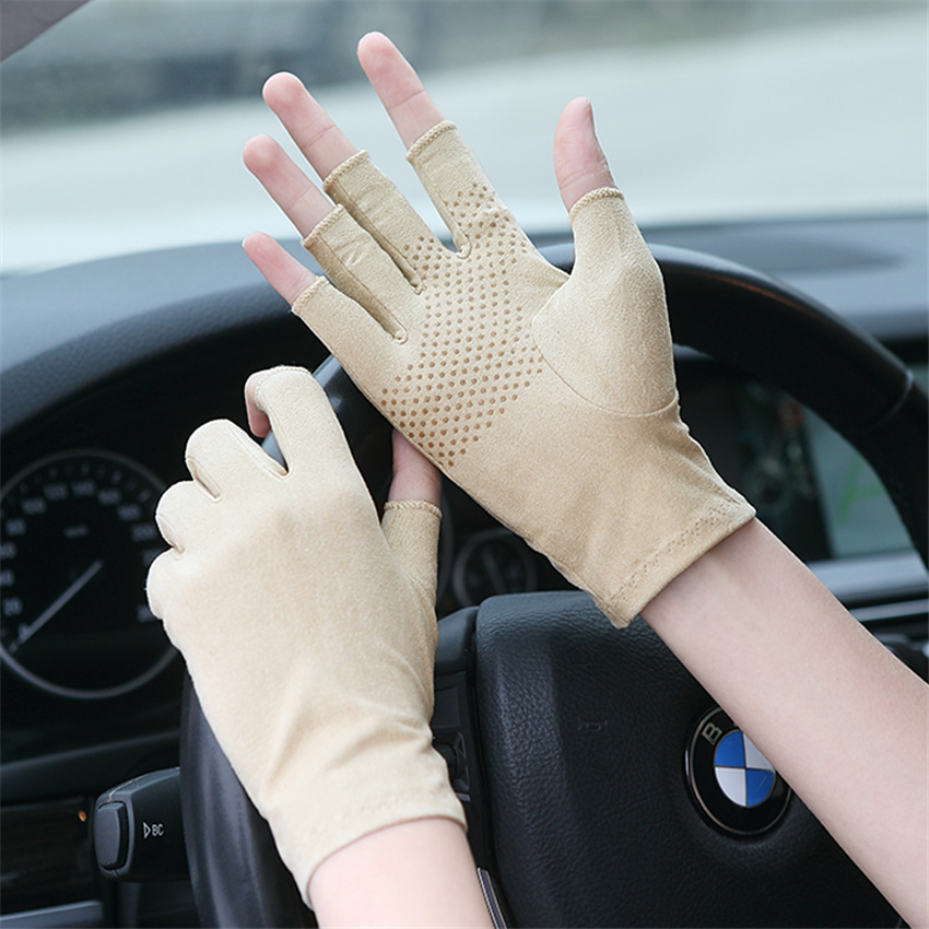Suede Sunscreen Gloves 2019 Men And Women Summer Thin Short Half Finger Driving Anti-Slip Sweat Gloves 5-SZ007W