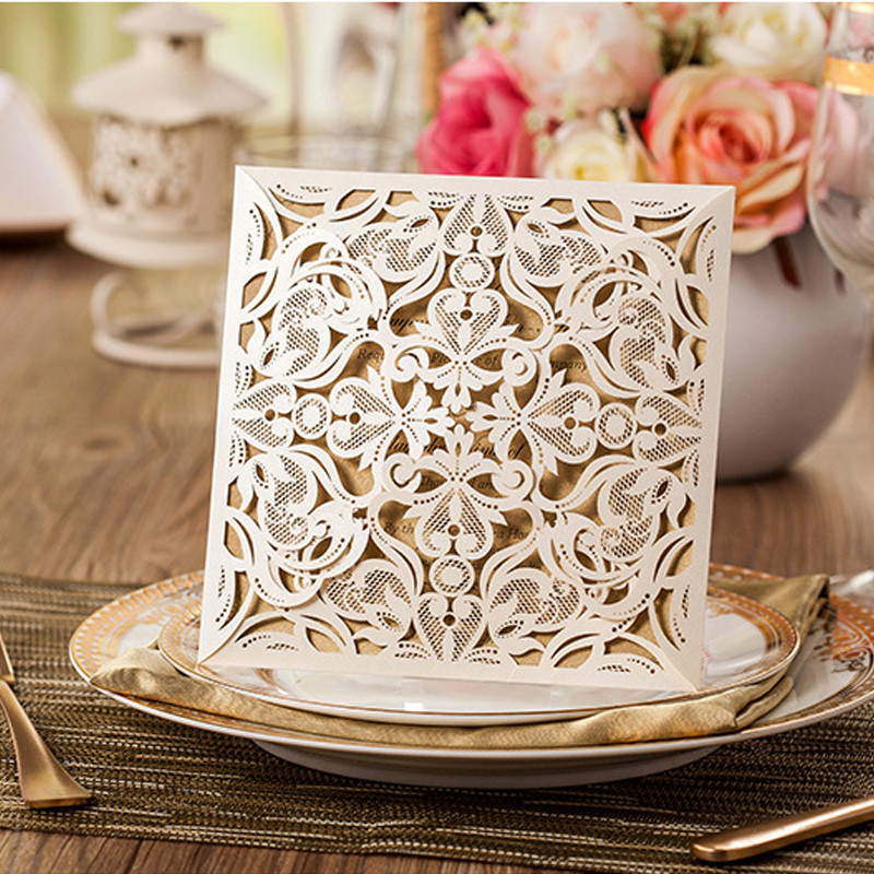 1pcs Sample Gold White Black Laser Cut Rose Flora Wedding Invitations Card Elegant Lace Envelopes & Seals Event & Party Supplies (2)