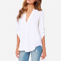 2017 Europe And America Summer And Autumn Style Women Slim V Neck Chiffon Long Sleeve Pullover