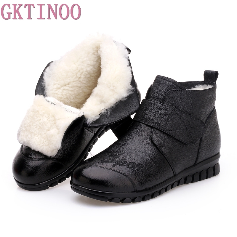 GKTINOO Winter Shoes Women Flats Ankle Boots Woman Fashion Genuine Leather Boots Mother Casual Non-slip Wool Warm Snow Boots недорго, оригинальная цена