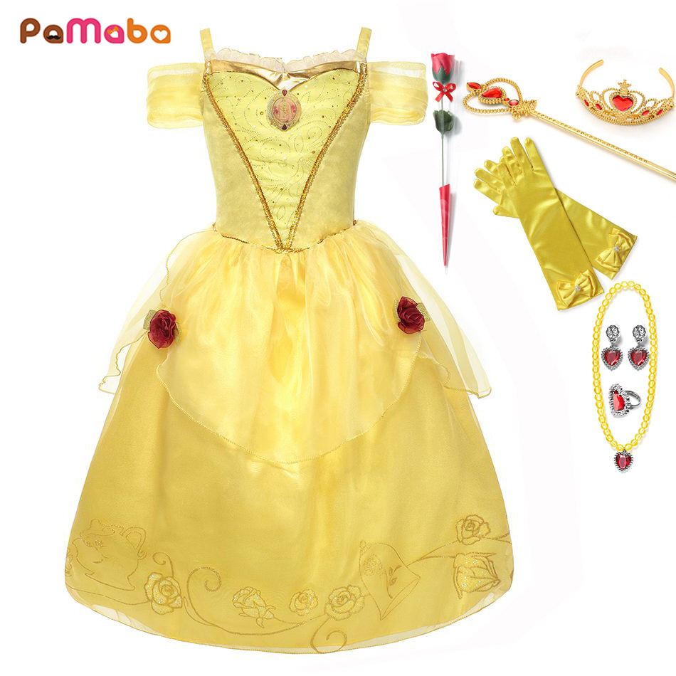 Pamaba 3 6 9 12 Years Old Girl Beauty And The Beast Belle -2985