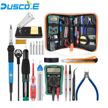 Hot 60W 220V EU plug 110v US Adjustable Temperature Soldering Iron Kit +5 Tips +Desoldering Pump + Stand +Tweezer