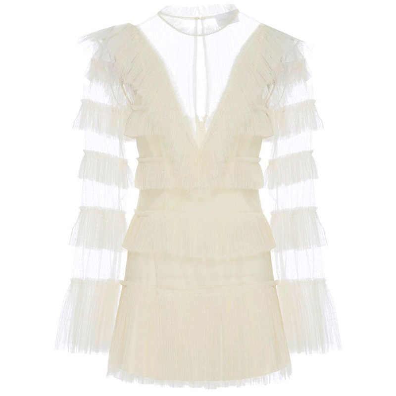 Сексуальное Белое Сетчатое кружевное в стиле пэчворк с v-образным вырезом, женское платье 2019, весенние рукава-фонарики с оборками, дизайнерское платье для подиума