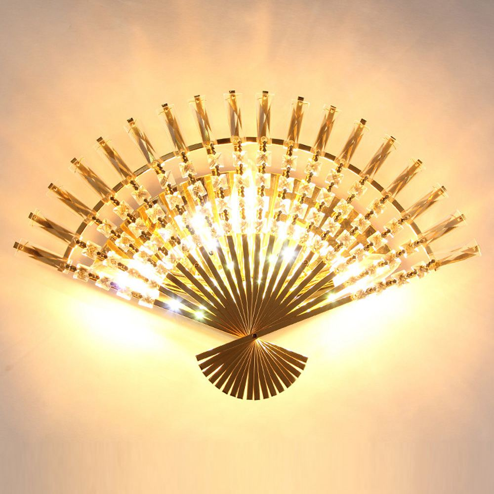 Modern Crystal Fan Shape Corridor Wall light Luxury European Crystal ...