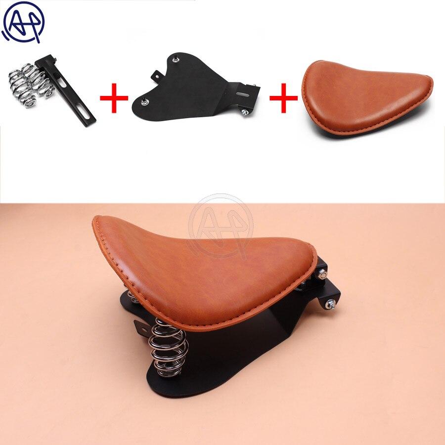 1 pc moto rétro cuir synthétique polyuréthane marron crâne Logo siège Solo + 3