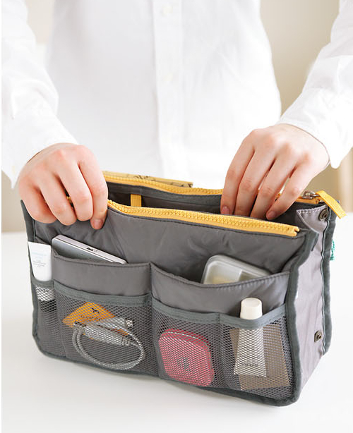 13 Color Women  Comestic Organizer Bag In Bag Double Zipper Portable Multifunctional Travel Pockets Handbag Makeup Bag