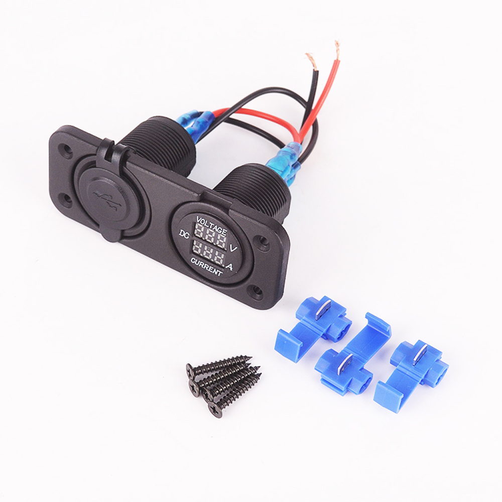 hight resolution of  adapter splitter socket voltmeter ammeter led digital display in cigarette lighter from automobiles motorcycles on aliexpress com alibaba group
