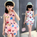 Girl Clothing Sets Summer Fashiion Girls Flower Top + Short 2 Pics Suits Children Clothing Sets For 4~16 Year Kids