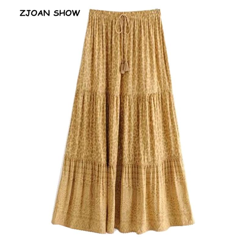 2019 New Bohemian Yellow Leopard Print Long Skirt Women Stitching Pleated Lacing Up Stream Elastic Waist Swing Skirts Beach