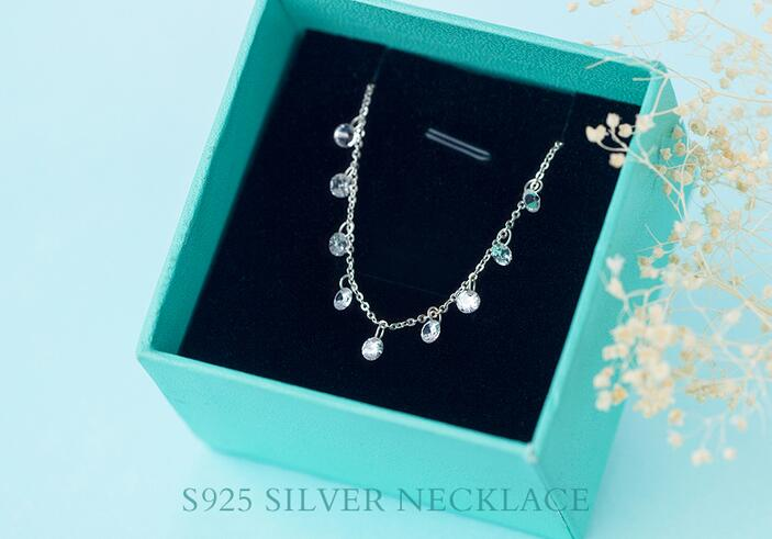 Real 925 Sterling Silver Round crystals CZ AAA Pendant Statement station Necklace Sweet GTLX740 Real. 925 Sterling Silver Round crystals CZ AAA+ Pendant Statement station Necklace Sweet GTLX740