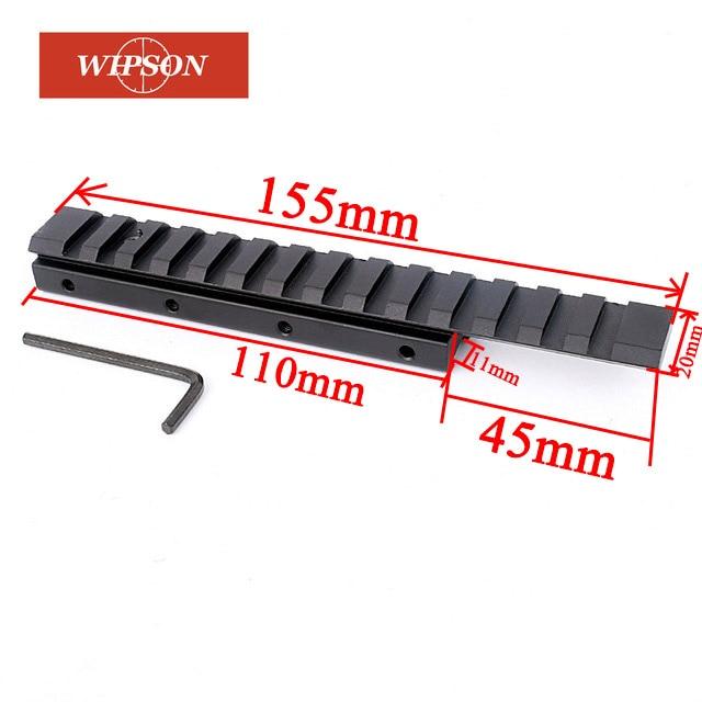 Wipson 155mm 14 entalhes de andorinha 11mm a 20mm weaver picatinny trilho adaptador escopo estender base montagem pistola airsoft caça caza
