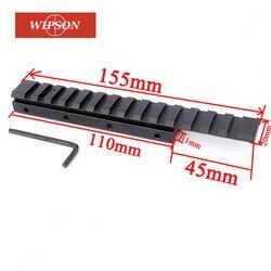 WIPSON 155 мм 14 слотов ласточкин хвост 11 мм до 20 мм Вивер Пикатинни область адаптера Расширение крепление база пистолет страйкбол охота Каза