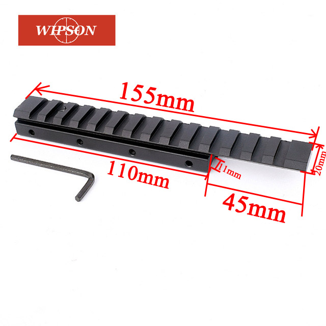 WIPSON 155mm 14 Slots Dovetail 11mm To 20mm Weaver Picatinny Rail Adapter Scope Extend Mount Base Pistol Airsoft Hunting Caza