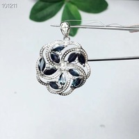 Natural real blue Sapphire necklace pendant 925 sterling silver For men or women