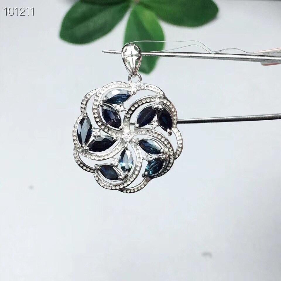 Naturel réel bleu Saphir collier pendentif 925 sterling argent Pour hommes ou femmes